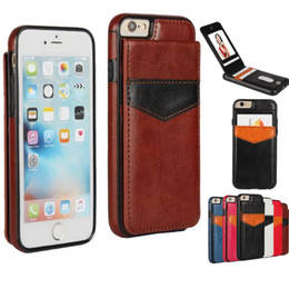 Wholesale Magnet Photo - For iphone 6 7 Luxury Retro Leather TPU Shockproof Hard Back Case Cover with Credit Card slots photo frame Magnet for iphone7 6S Plus 6plus