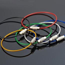 All'ingrosso-10 Pz / lotto Filo in acciaio inox Keychain Key Cable Ring Corda 6 colori Rubber Tubing Screw Locking EDC Tool cheap screw key rings da viti portachiavi fornitori