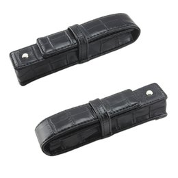 Wholesale Wholesale Leather Business Gifts - Wholesale-Best Promotion Black Pen Or Roller Ball Fountain Pen Leather Case for Only One Pen Storage Bag Office Business People Gift