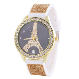 Wholesale Digital Printing Dress - 2016 star butterfly flower eiffel tower printing women watch silicone rubber ladies casual diamond heart dress quartz watches