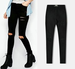 Wholesale Women S Retro Washed - 2016 Fashion Women Clothes Summer Hole Slim Demin Pants Ladies Skinny Jeans Ripped Hole Wild Retro Elastic Jeans Boyfriend Style for Women