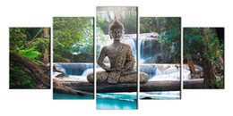 Wholesale Buddha Art Painting - Buddha Poster Print Painting Unframe Canvas Wall Art Home Decor Traditional Oil Painting HD Printed Poster 5 Piece