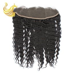 Wholesale Clip Wig Human Hair - Natural Black Lace Frontal Hair Extensions Pieces Brazilian Indian Clip In Hair Extensions with Closure Virgin Deep Waves Human Hair Wigs