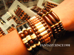 Wholesale Mixed Wooden Beads - Brand New 24 pieces Men's Mixed Styles Vintage Retro Wooden Beads Stretch Cuff Bracelets Wholesale Lots