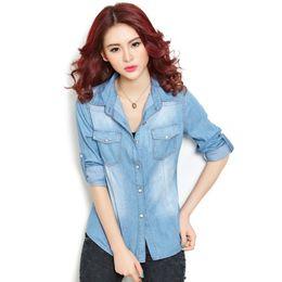 Wholesale Denim Retro Top - A New Arrival Women's Fashion Long Sleeve Denim Shirt Retro Girl Casual Blue Jean Denim Tops Blouse