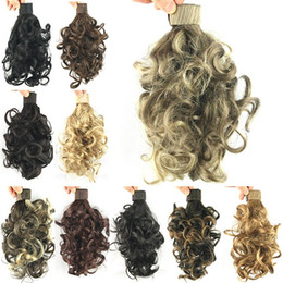 Wholesale Curl Synthetic Pony Hair - Wholesale-11 Colors Wavy Curl Ponytails Synthetic Hair Ponytail Hair Band Hair Extensions Little Pony Tail