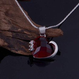 Wholesale Wholesale Ruby Pendant - women jewelry 925 sterling silver 18K white gold heart pendant ruby pendant necklace