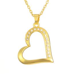 18 k vergoldeter anhänger halskette online-18 k Gold / Rhodium plattiert klar Strass Baumeln Herz Anhänger Halskette Liebe Geschenk für Frauen Mädchen