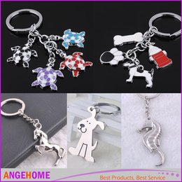 Wholesale Wholesale Metal Trinket - Dog Cat Tortoise Horse Hippocampus Keychain Keyring Fashion Metal Animals Key Chain Set Charm Pendant Trinket Gift