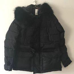 Wholesale luxury down jacket fur - M65 Luxury Brand Black Jacket For Men Black Real Fur Trim Hood Pure Duck Down Sashes Big Pockets