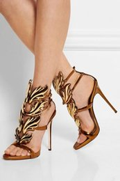 Wholesale Stylish Pumps - New Stylish Patent Leather Stiletto Heel Summer Shoes Women Gold Leaves Embellished Sandals Buckle Strap Gladiator Sandals