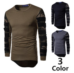 Wholesale Cotton Mesh Shirts - Tops Tees T Shirt Camouflage Hollow Out Mesh Patchwork Design Hi-lo O Neck Long Sleeve Slim Fit For Man Sports T Shirts Free Ship 2017