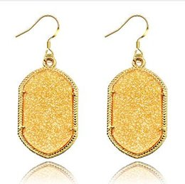 Wholesale Wholesale Jewelry Korea China - Fashion Earrings for Women Famous Designer Jewelry Top Selling Korea Style Golden Frame Oval fluorescent Drop Earrings