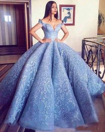 Wholesale Apple Babies - 2018 Off the Shoulder Ball Gown Quinceanera Dresses Applique Lace Sweet 16 Prom Gowns Vestidos De Quinceanera Baby Blue Pageant Party Dress