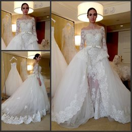 Wholesale Over Skirt Gown - Over Skirts Wedding Dresses Elegant Bateau Neck Off the Shoulder Sheath with Detachable Skirt 3 4 Sleeves Lace Applique Bridal Wedding Gown