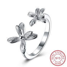 Wholesale 925 Silver Rose Flower Ring - Christmas Gift 925 Sterling Silver Rose Gold Plated Beautiful Flower Resizable Ring Wedding Engagement Ring Jewelry SVR090