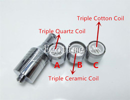 Wholesale Dual Coil Cartomizer Replacements - Triple Coil D core wax atomizer double replacement Ceramic Cotton rob wax vaporizer dual heating coil wax Skillet Cannon cartomizer ecig