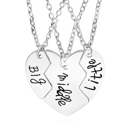 Wholesale Sterling Silver Girls Necklace - Split heart pendant necklaces Best Friends Necklace big middle little sterling silver plated jewelry for girls chrismas gift whosale