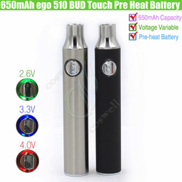 Wholesale Ego Ce3 - 650mAh ego 510 BUD Touch Pre Heat Battery Variable Voltage VV Cartridges Vape CO2 Thick Oil G2 CE3 CCell MT6 Vaporizer O Pen e cig batteries