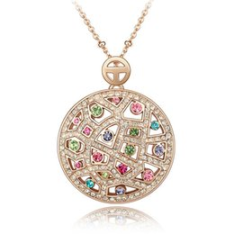 Wholesale Swarovski Elements Gold - Fashion Accessories For Women Crystal Necklace Rose Gold Charm Jewelry made with Swarovski Elements Colorful Crystal Necklaces Pendants 3541