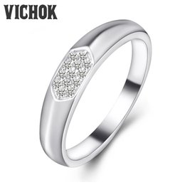 Wholesale Heart Shape Ring Ladies - 925 Sterling Silver Ring Heart-shaped Luxury Jewelry Platinum Color Gifts For Women Anniversary Ladies Gifts Simple Statement Rings VICHOK