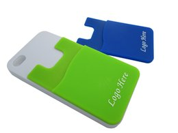 Wholesale Wholesale Cell Phone Items - 1color logo printing silicone card holder for mobile with 3M sticker cheap promotion item cell phone credit card holder