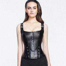 Wholesale Cheap Steampunk Corset - Sexy Style Steampunk Faux Leather Lace up Steel Boned cheap Bustier Top Corset Overbust Black Brocade Size S-2XL Black&red free shipping