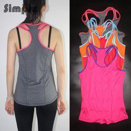 Wholesale Double Collar Shirt Women - Wholesale-Hot Quick-dry breathable yoga top training running shirt women sleeveless low collar Double straps jogging vest fitness women