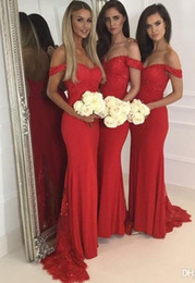 Wholesale Dark Red Spaghetti Top - 2017 Sexy Off the Shoulder Mermaid Maid Of Honor Gowns Red Lace Sequins Top Tulle Sweep Long Train Bridesmaid Dresses Wedding Guest Dresses