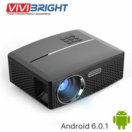 Wholesale Projector Full Hd Wifi - Wholesale- VIVIBRIGHT LED Projector GP80   UP. 1800 Lumens. (Optional Android 6.0.1, WIFI, Bluetooth Simple Beamer) Support Full HD, 1080P