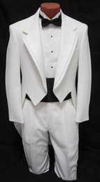 Wholesale Dance Costumes Jacket - custom suit Men's boys White Tuxedo Tailcoat Dance Costume Tux Tails Coat Bridegroom wedding suits(Jacket+Pants+bow) Free Shipping