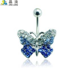 Wholesale Blue Navel - 2016 New Design High Quality Fashion Silver Pole Blue Crystal Butterfly Navel Piecing Rings for Women Body Piercing Jewelry