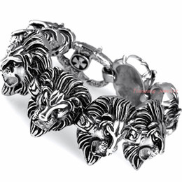 Wholesale Bracelet Styles Bling - New Fashion 316L Stainless Steel Lion Heads Link Punk Style Jewelry Heavy Bling Mens Bangle Bracelet