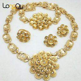 Wholesale Stainless Steel Carved Earring - Fashion African Beads Jewelry Set Exquisite Carved Dubai Gold-color Jewelry Set for women Pendant Necklace Earrings Bracelet