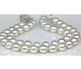 Wholesale South Sea Pearls Rings - Nobby double strands 9-10mm south sea round white pearl bracelet 7.5-8inch 925 silver clasp