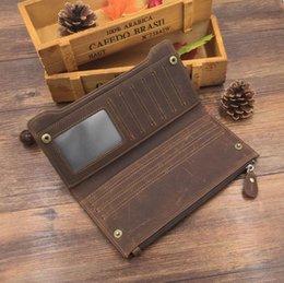 Wholesale Top Closure Clips - Mens Women Crazy Horse Leather Top Grade Quality Vintage Long Wallet Mobile Phone Retro Purse Credit Cards Money Clip Zipper Closure