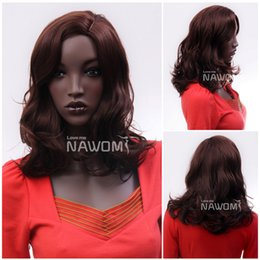 Wholesale Nawomi Wigs - 3382 NAWOMI Medium Long Curly Wigs For African Female Dark Brown Colors Wigs Directly From Manufacturer