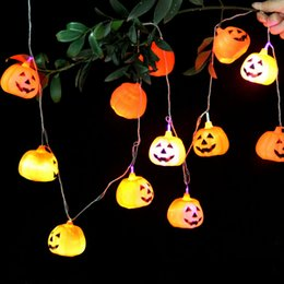 Wholesale Halloween Lights Lantern Ghost - 2.5M Hanging Halloween Pumpkin Lantern 3D Plastic Skull String Light 16 LED Pumpkin Light Skeleton Halloween Holiday Ghost String Light