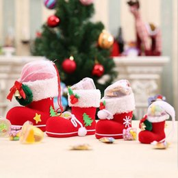 Wholesale christmas elf ornaments - 6*6*3cm Mini Christmas Gift Bag Elf Spirit Candy Boot Shoes Stocking Holders XMAS Party Decoration Filler Bags ZA4818