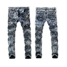 Wholesale Skinny Leg Patterned Pants - Wholesale free shipping Straight Leg Type Men's Jeans Washing Grinding White Snowflake Pants skinny plus size 36