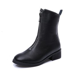 Wholesale Low Heel Boots For Women - Autumn and winter woman half boots Front zipper leather boots for ladies Chunky heel fashion boots Warm shoes