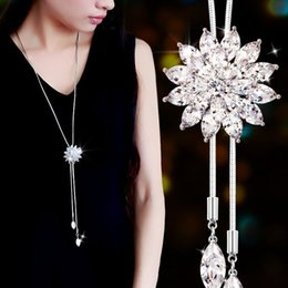 Wholesale Holland Clothes - Holland ladies clothing accessories snow sweater chain simple all-match long necklace crystal pendant jewelry folk style dress wholesale