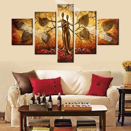 Wholesale hand painted oil art - Modern abstract lover tree oil painting 5 Pieces hand painted figures oil painting on thick canvas home wall art decoration