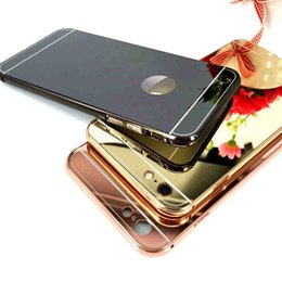 Wholesale Metal Bumper Iphone5 - Luxury Golden Mirror Metal Back Cover Cell Phone Case Electroplating Bumper Shockproof Mirror Cell Phone Case for Iphone5 Iphone6 6plus