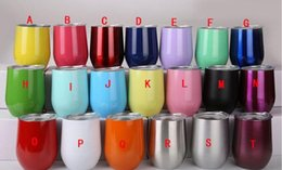 Wholesale Wine Glass Wall Art - Egg Cups with Lid 9oz Tumbler Stemless Wine Cup Double Wall Stainless Steel Vacuum Insulated Beer Mug