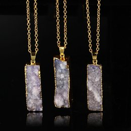 Wholesale Druzy Slice Pendant Gold - Wholesale Quartz Crystal gold plated blue agate sliced Irregular Natural stone pendants chain necklace Druzy Jewelry free shipping