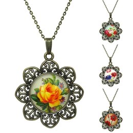 Wholesale Red Rose Cabochon - Vintage Rose pattern Necklaces&Pendants Glass Cabochon Bronze Accessories Pendant Necklace Statement Necklace Women Jewelry
