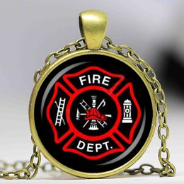 Wholesale wholesale firefighter - Hot Firefighter Symbol Glass Fashion Pendant Necklace DIY Handmade Fire Dept Jewelry Vintage Charms Trendy Men Women Gift