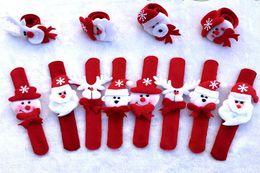 2019 palla di natale ornamento viola 12 pezzi / lotto ornamenti natalizi per bambini regalo di natale cinturino da polso braccialetto di natale forniture per bambini babbo natale pupazzo di neve