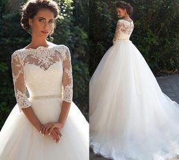 Wholesale Half Pearl Buttons - Vintage Lace A Line Wedding Dresses 2017 Millanova Bateau Half Long Sleeves Pearls Tulle Princess Ball Gowns Cheap Bridal Dresses Plus Size
